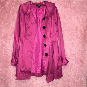 Hot pink trench coat (lightly worn)